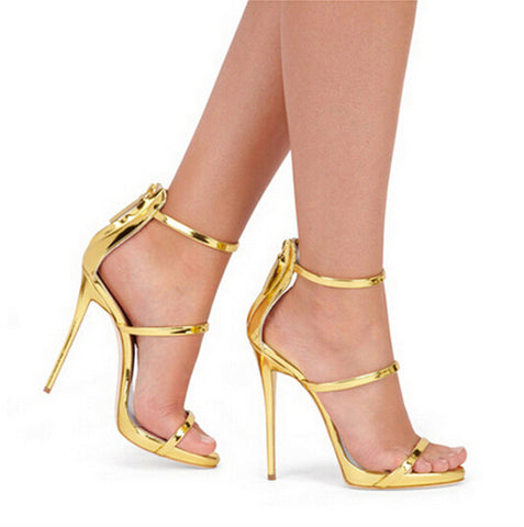 Harmony Metallic Strappy Sandals Silver Gold Platform Gladiator Sandals Women High Heels Shoes Summer style Free shipping - Dollar Bargains - 1