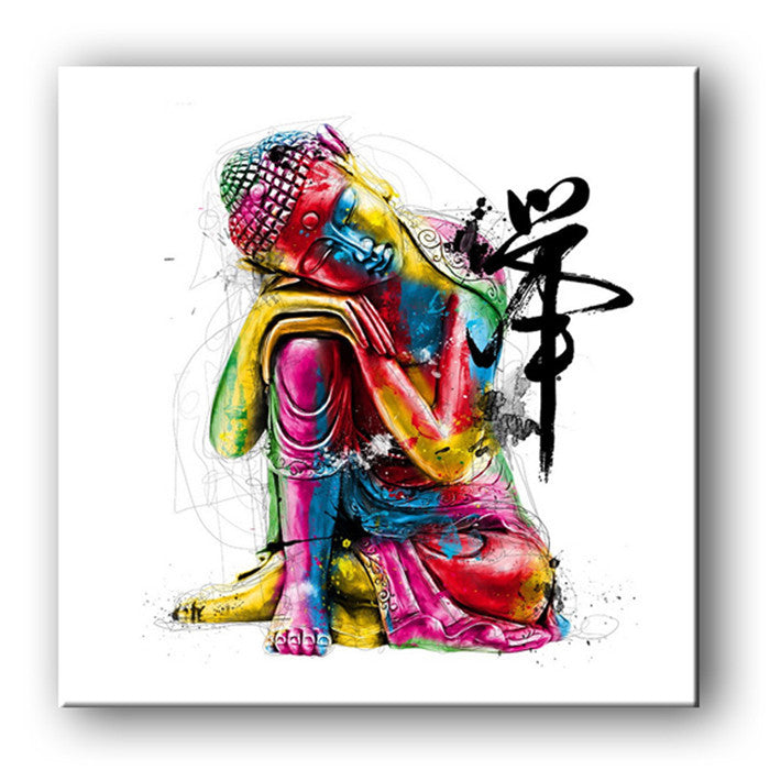 12x12 / without framedE-HOME Oil Painting Buddha Decoration Painting One Pcs Home Decor On Canvas Modern Wall Prints Unframed