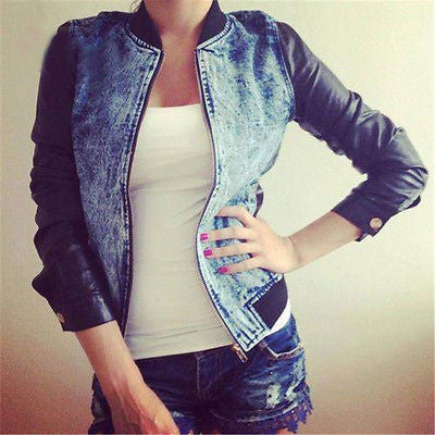 Blue / SWinter Autumn Women Retro Fashion Casual Blue Jean Denim Long Sleeve Blue Coat Jacket With Two Pockets Two Sides O-Neck