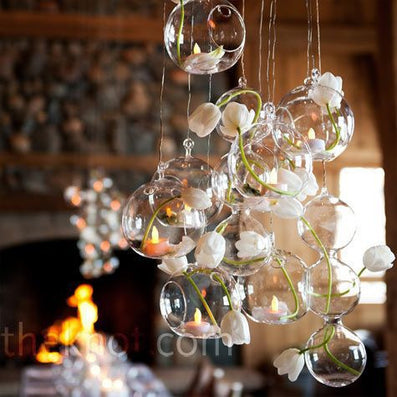 12PCS/Lot 80MM Christmas Hanging Tealight Holder Glass ORB Terrarium Glass Globe Candle Holder Candlestick Wedding Bar Decor-Dollar Bargains Online Shopping Australia