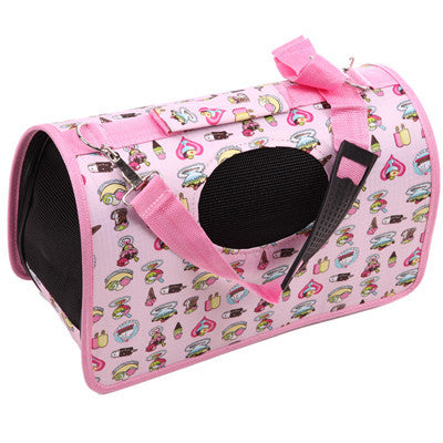 Pink / SFashion Pet Dog Cat Puppy Portable Travel Carrier Tote Bag Handbag Crates Kennel Luggage FULI