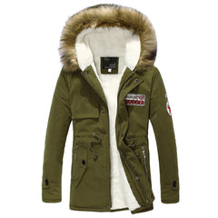 Winter New Style Warm Men's Jacket Parka Thick Warm Fur Collar Long Cotton Jacket Men Comfortable Cotton Hooded Parka Men-Dollar Bargains Online Shopping Australia