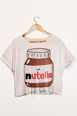 Nutella Print White Crop Tops Summer Short Sleeve T shirts Harajuku Fitness Women Fashion Kawaii T-shirt F1003-Dollar Bargains Online Shopping Australia