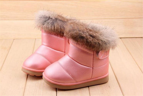 Children's NEW Real Rabbit Fur Ankle Snow Boots EU21-30 Kids Shoes Girls Boots Warm Plush Waterproof Winter Soft-Dollar Bargains Online Shopping Australia
