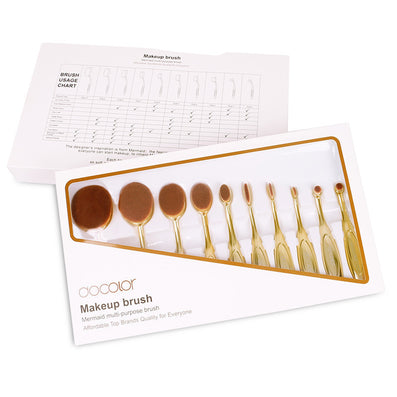 Docolor oval makeup brushes 10pcs oval brush set professional makeup brushes set toothbrush make up brushes holder with nice box-Dollar Bargains Online Shopping Australia