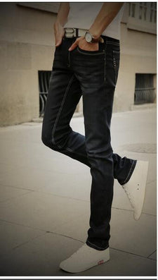 Men's Straight Elastic Waist Skinny Jeans Mid Waist Men's Slim Fit Jean Homme Casual Pants 28-38 Size-Dollar Bargains Online Shopping Australia
