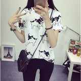 2015  fashion Women's Summer T-Shirt Clothes Shirt  O-neck funny cat printing Free Shipping - Dollar Bargains - 9