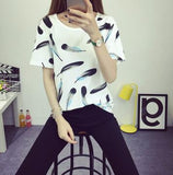 2015  fashion Women's Summer T-Shirt Clothes Shirt  O-neck funny cat printing Free Shipping - Dollar Bargains - 2