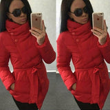 winter jacket women duck down coat 1950s 60s high collar with belt parkas for women winter 7 colors warm outerwear coats-Dollar Bargains Online Shopping Australia