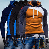 Men Spring Warm Hoody Ourdoor Slim Fit Splicing Color String Casual Pullover Top-Dollar Bargains Online Shopping Australia