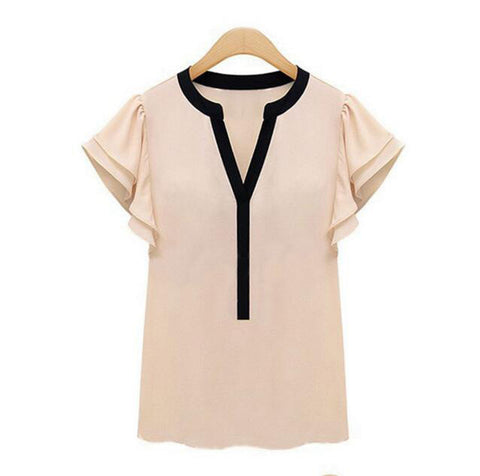 hot Plus Size Female Tops Women Blouses Ruffle Short Sleeve Chiffon Shirts Womens Clothing Ladies Clothes For Vintage Body - Dollar Bargains - 2