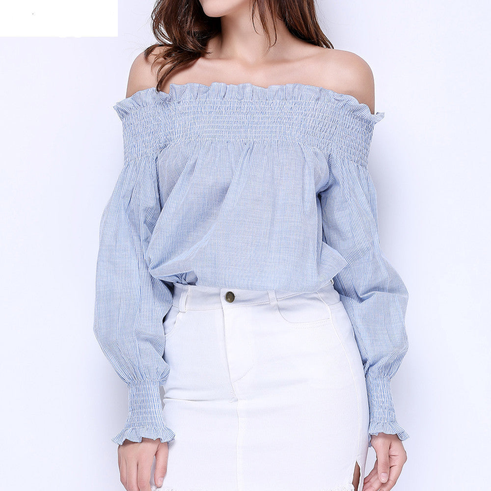 SWomen Girls Fashion Cotton Blue White Striped Tops Off the Shoulder Long Sleeve Shirts Loose Elastic Ruffle Blouses