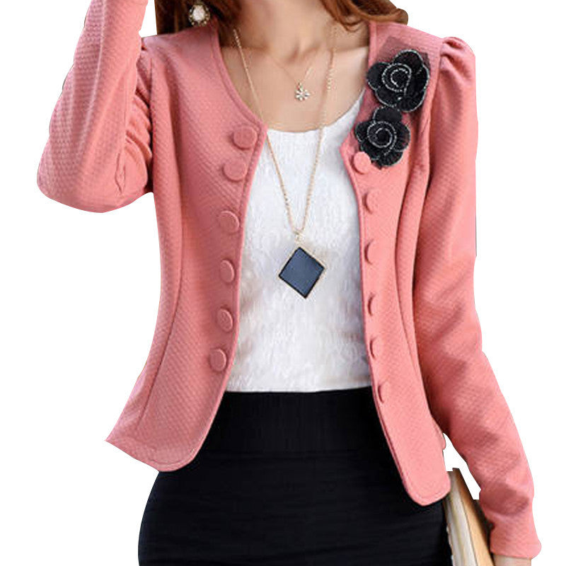 Spring 2016 New Korean Fashion Blazer Feminino Plus Size 3XL Long Sleeved Bleiser Mujer Casual 4 Colors New Lovely Women Suits - Dollar Bargains