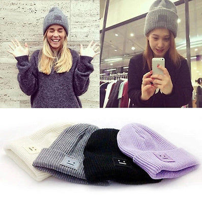 2016 New Fashion Casual Cute Hats Purple &  Green Smile Wool Women Hats & Caps For Winter Chapeus - Dollar Bargains