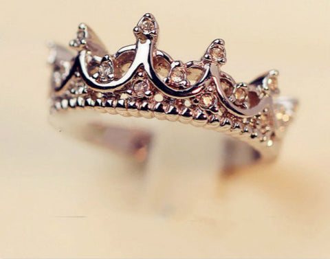 Free W ings Queen's Silver Crown Rings For Women Punk Brand Crystal Jewellery Love Rings Femme Bijoux wedding engagement rings-Dollar Bargains Online Shopping Australia