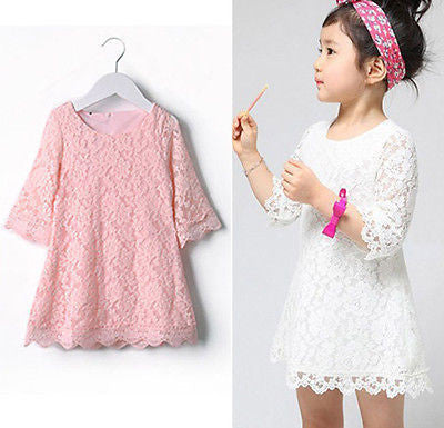 Baby Girls Lovely Lace A-line Dresses Girls Kids Summer Dress-Dollar Bargains Online Shopping Australia