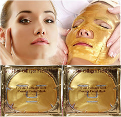 Gold Bio-Collagen Facial Mask Face Mask Crystal Gold Powder Collagen Facial Mask Moisturizing Anti-aging 5PCS New arrive-Dollar Bargains Online Shopping Australia