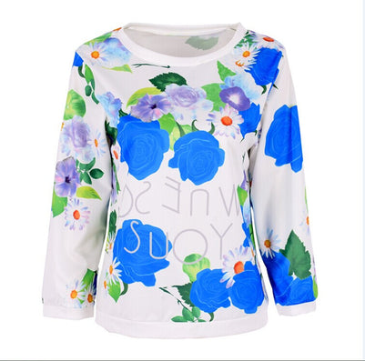 2016 Fashion Autumn Women Girl Long Sleeve Floral Print T Shirts Crew Neck Casual Tops - Dollar Bargains - 2