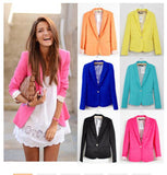 Women Suit Blazer Foldable Brand Jacket Made Of Cotton & Spandex With Lining Vogue Candy Colors Blazers A7995-Dollar Bargains Online Shopping Australia
