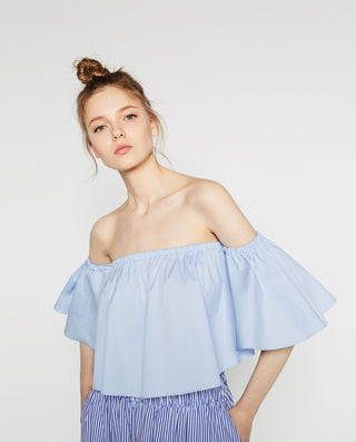 2016 NEW Summer Fashion Trend Women's Smock Top Off Shoulder Brief Ruffles Girl's PETITE Structured Bardot Short Blouse - Dollar Bargains - 7