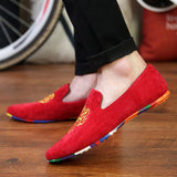 men fashion slip-on Totem Printing flats shoes Nubuck Leather driving shoes men moccasins male boat loafers-Dollar Bargains Online Shopping Australia