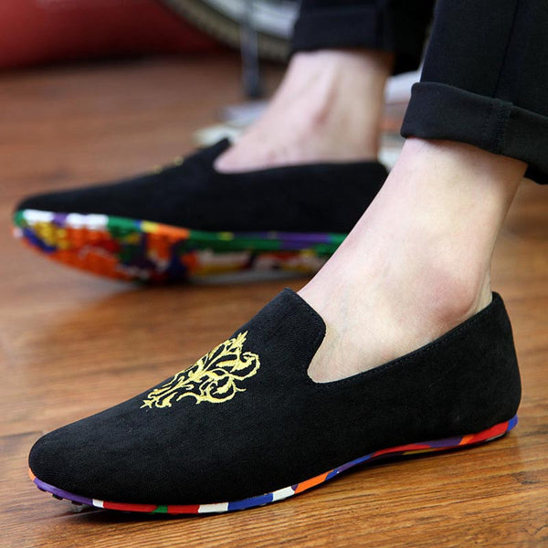 16a0a9fb58 men fashion slip-on Totem Printing flats shoes Nubuck Leather driving shoes  men moccasins male boat loafers