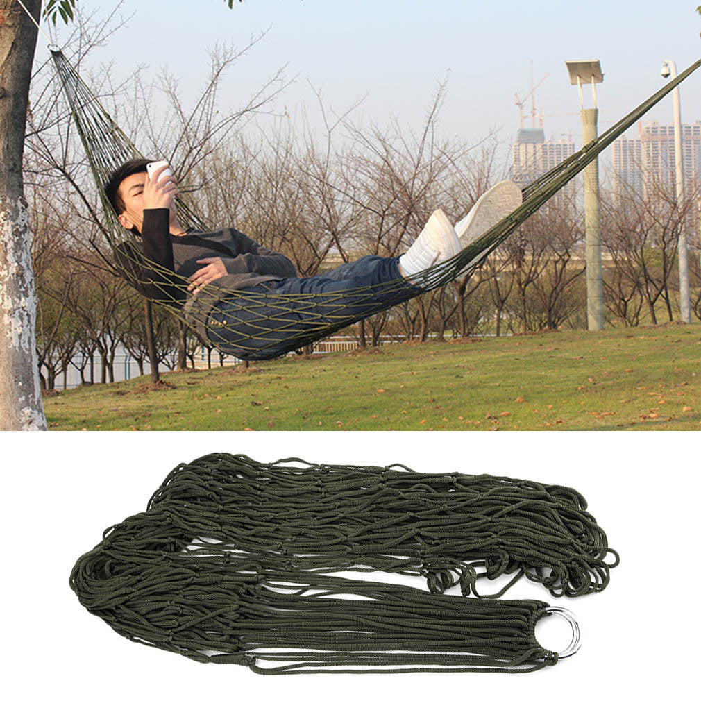 Army green1Pc sleeping hammock hamaca hamac Portable Garden Outdoor Camping Travel furniture Mesh Hammock swing Sleeping Bed Nylon HangNet