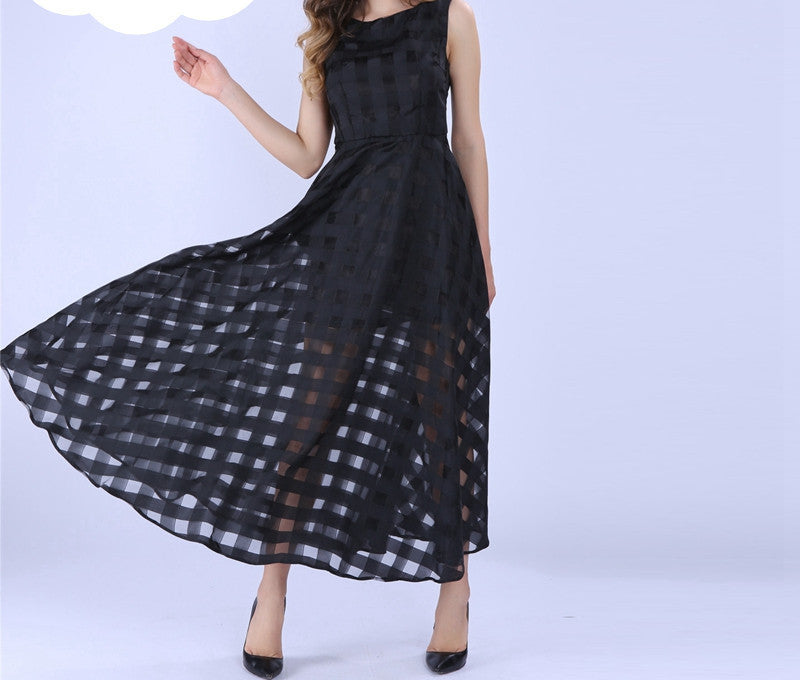 Black / MMaxi Summer Plaid Women Dress New Long Organza day Dress Satin Fashion style black women dresses