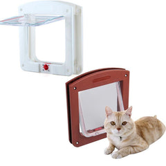White Frame 4 Way Locking Lockable Magnetic Pet Cat Small Dog Flap Glass Door-Dollar Bargains Online Shopping Australia