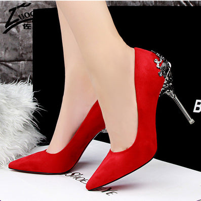 29a1eb015c9 Sexy Women Shoes Red Bottom High Heels Faux Suede Party Pointed Toe ...