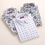 Autumn Floral Women Shirts with Long Sleeves Cotton Blouses Shirt Turn Down Collar Female Bodycon Shirts Women Feminine Shirt - Dollar Bargains - 1