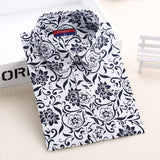 Autumn Floral Women Shirts with Long Sleeves Cotton Blouses Shirt Turn Down Collar Female Bodycon Shirts Women Feminine Shirt - Dollar Bargains - 7