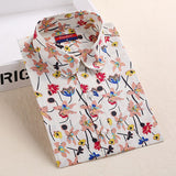 Autumn Floral Women Shirts with Long Sleeves Cotton Blouses Shirt Turn Down Collar Female Bodycon Shirts Women Feminine Shirt - Dollar Bargains - 13