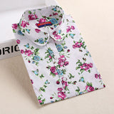 Autumn Floral Women Shirts with Long Sleeves Cotton Blouses Shirt Turn Down Collar Female Bodycon Shirts Women Feminine Shirt - Dollar Bargains - 11