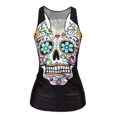 V9 women Floral sugar skull tank tops adventure time camisole t shirt-Dollar Bargains Online Shopping Australia