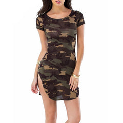 ZANZEA Women Summer Camouflage Bodycon Printed Short Sleeve Long Tops Sexy Ladies Causal Mini Dress Plus Size Vestidos-Dollar Bargains Online Shopping Australia