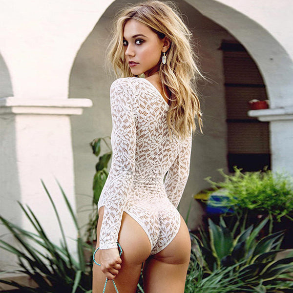 6233d7f05e18d Fashion One Piece Jumpsuits Deep V Sexy White Lace Rompers Womens Jumpsuit  Skinny Bodycon Bodysuit Short Playsuit Swimwear S-XL