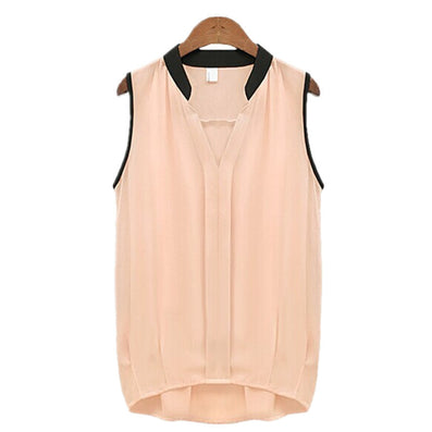 Fashion Women's V Neck Summer Chiffon Blouses Cute Sleeveless Blouse Shirts Casual Women Tops-Dollar Bargains Online Shopping Australia
