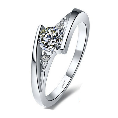 Sent Certificate of Silver 100% Pure 925 Sterling Silver Ring Set Luxury 0.75 Carat CZ Diamond Wedding Rings for Women JZR004-Dollar Bargains Online Shopping Australia