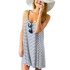 Newest Women Summer Dress Fashion Casual Striped Sexy Spaghetti Strap Sleeveless Short Beach Dress Plus Size S-3XL vestidos-Dollar Bargains Online Shopping Australia