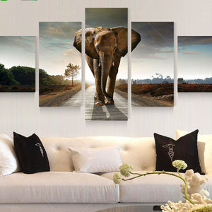 5 Panel Large Modern Printed Elephant Oil Painting Picture Cuadros Decoracion Canvas Wall Art For Living Room Unframed PR930A-Dollar Bargains Online Shopping Australia