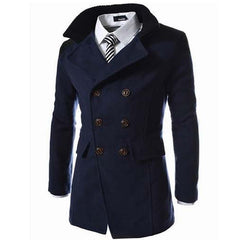 Trench Coat Men Tops Autumn Style Double Breasted Trench Coat High Quality Woolen Cloth Fabric Long Mens Trench Coat-Dollar Bargains Online Shopping Australia
