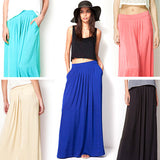 Woman Satin Long Skirt Elastic Waist Floor-Length Maxi Skirts Female Plus Size Ladies Bohemia Pleated saia skirts For Women-Dollar Bargains Online Shopping Australia