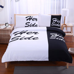Black Bedding Set His Side & Her Side Home textiles Soft Duvet Cover and Pillowcases 3Pcs Twin Full Queen King-Dollar Bargains Online Shopping Australia