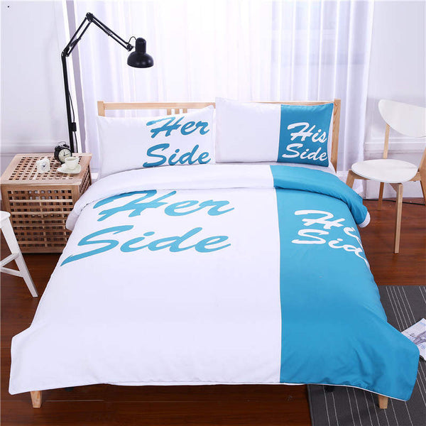 269a39ade2a Black Bedding Set His Side   Her Side Home textiles Soft Duvet Cover and Pillowcases  3Pcs