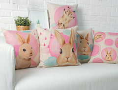 New Linen Animals pink rabbit Print Cushion Home Sofa Car Decorative Pillow Decor Pillow-Dollar Bargains Online Shopping Australia