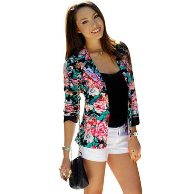 Casual Women One Button Jacket Slim Casual Business Blazer Suit Floral Coat Outwear-Dollar Bargains Online Shopping Australia