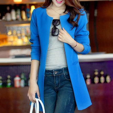 Women Blazer Fashion Straight Slim Single Breasted Long Casual Suit Jacket Blaser Feminino Plus Size WWX140-Dollar Bargains Online Shopping Australia