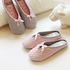 Cute Bowtie Winter Women Home Slippers For Indoor Bedroom House Soft Bottom Cotton Warm Shoes Adult Guests Flats Christmas Gift-Dollar Bargains Online Shopping Australia