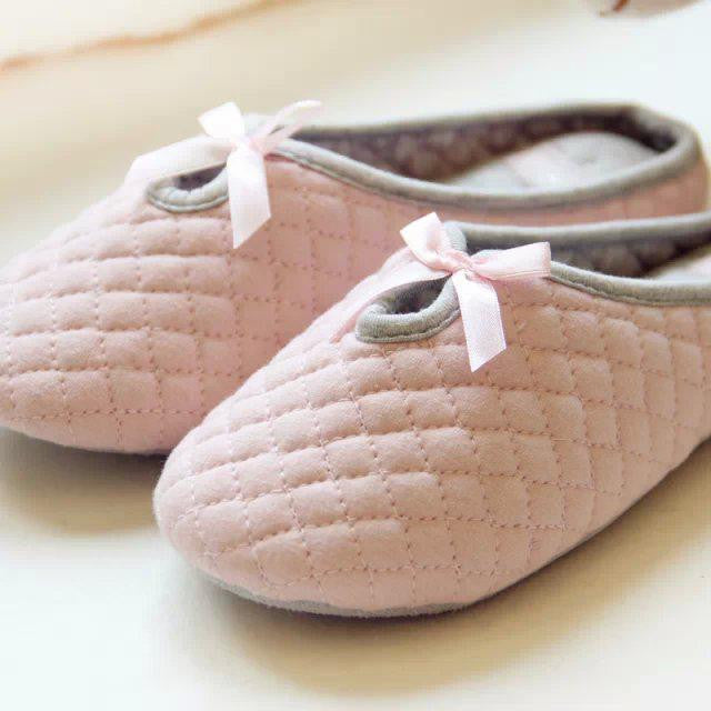 e7c07a20404 Cute Bowtie Winter Women Home Slippers For Indoor Bedroom House Soft Bottom Cotton  Warm Shoes Adult